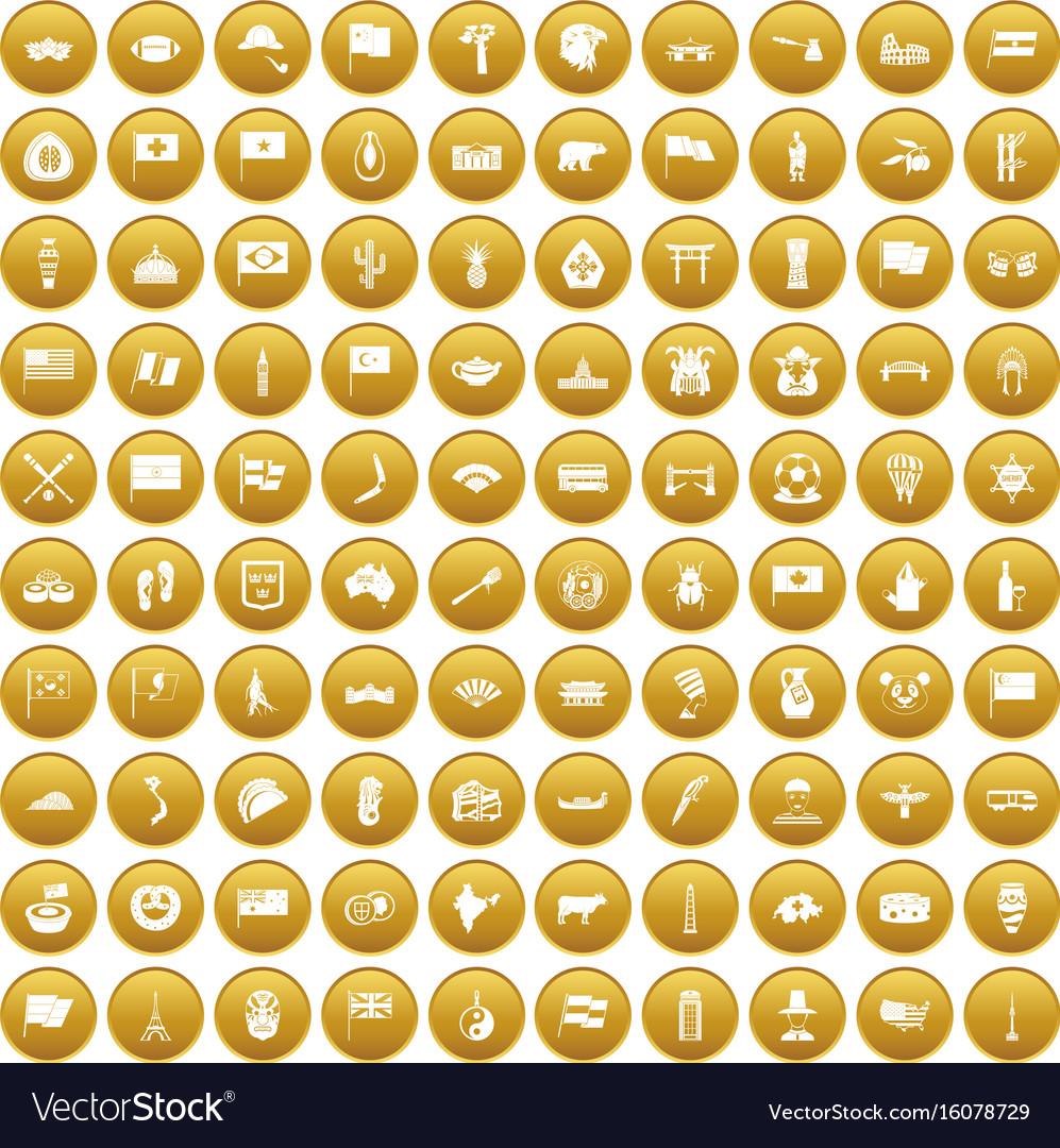100 national flag icons set gold
