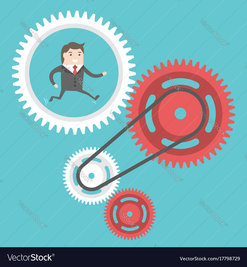 Businessman moving cog wheels