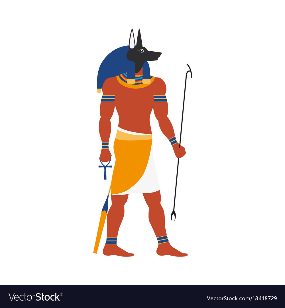 Flat Anubis Egypt God Icon Royalty Free Vector Image