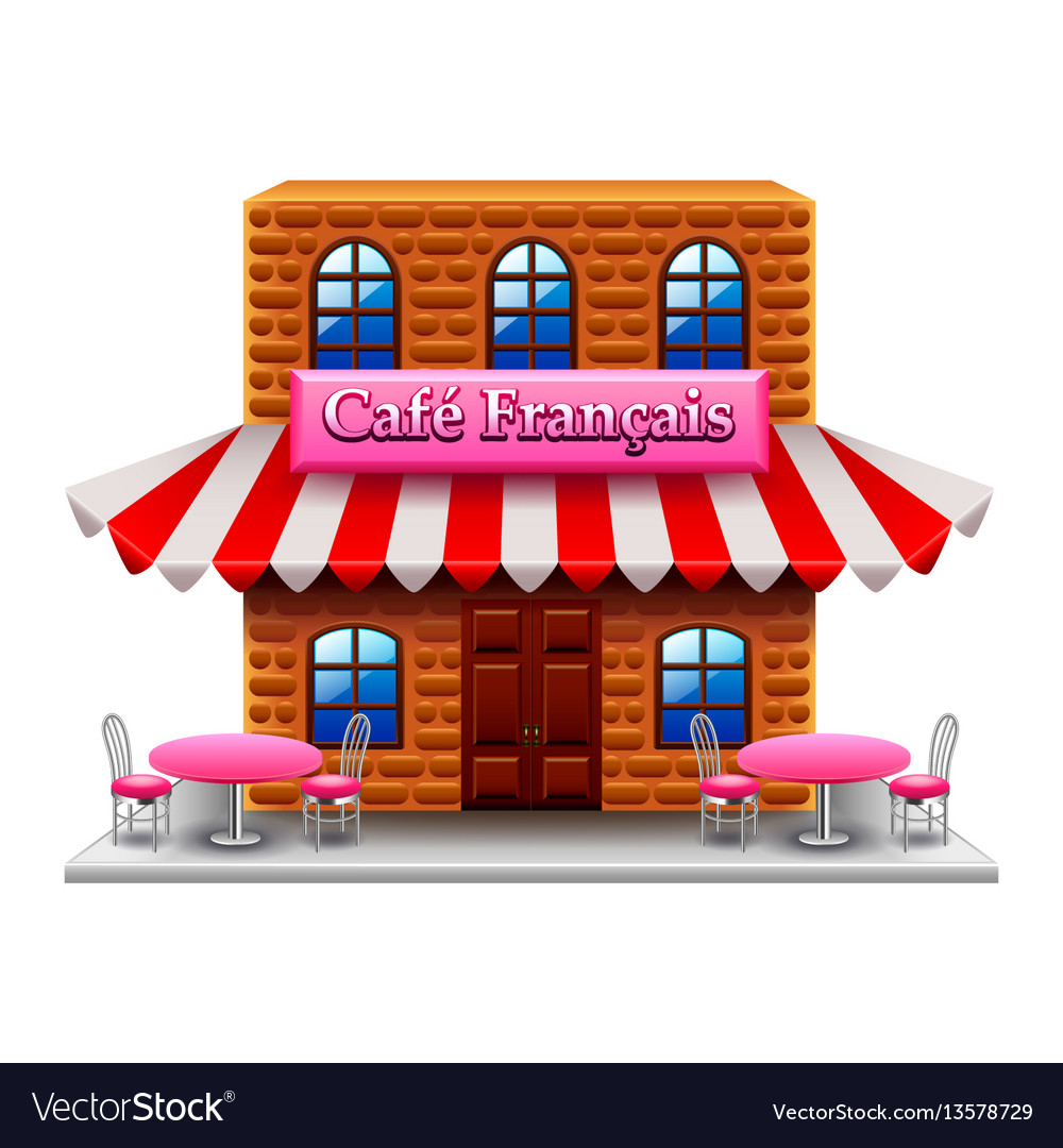French cafe isolated on white