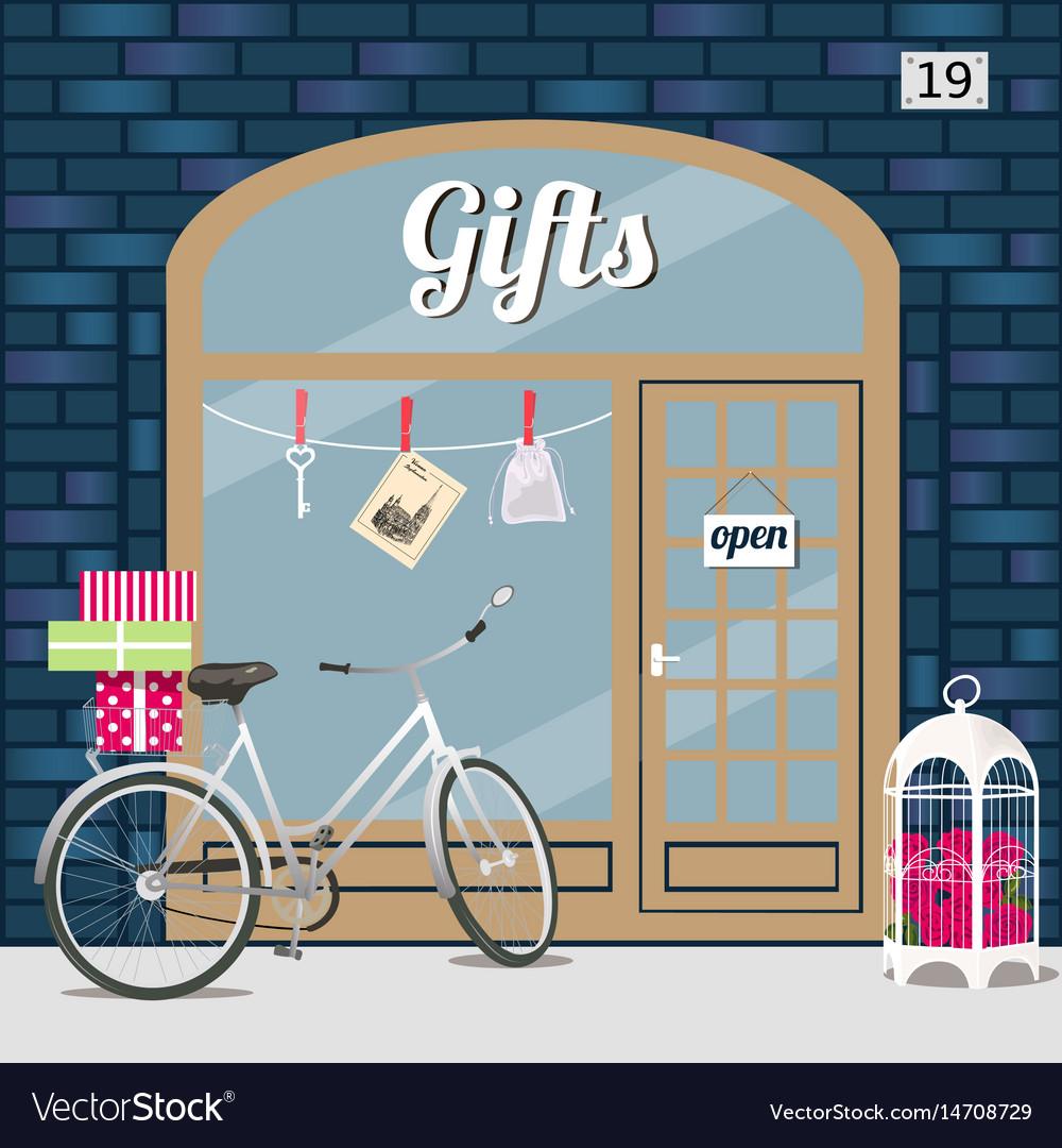 Gifts shop s facade of blue brick