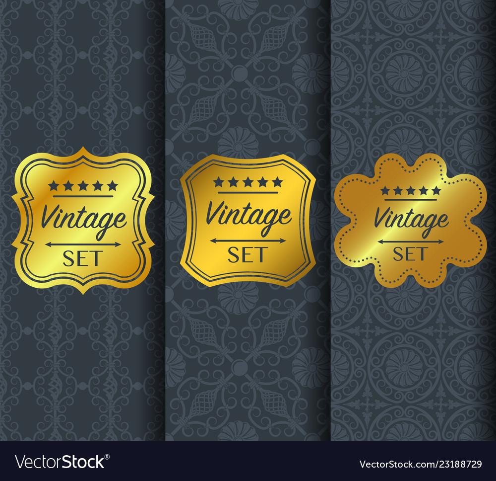 Golden vintage pattern on dark background
