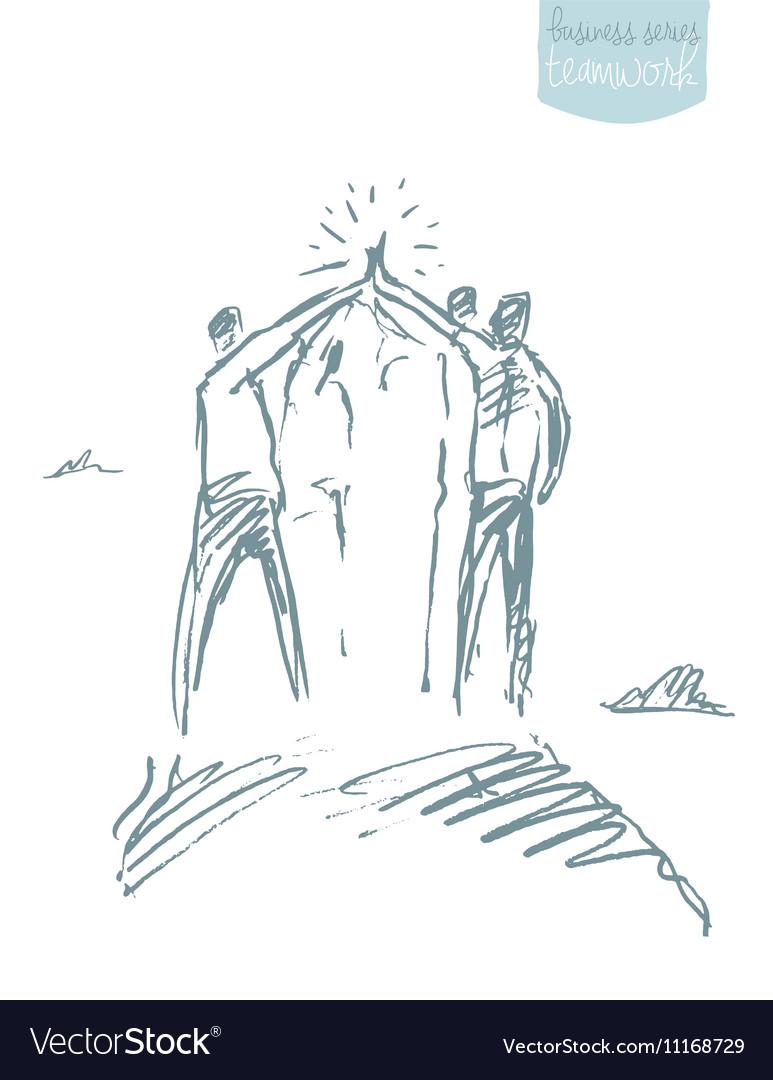 Group Teamwork concept sketch