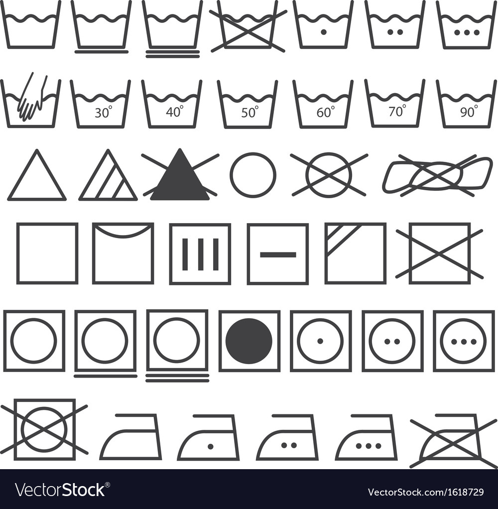 Laundry Icons Set Washing Symbol Royalty Free Vector Image