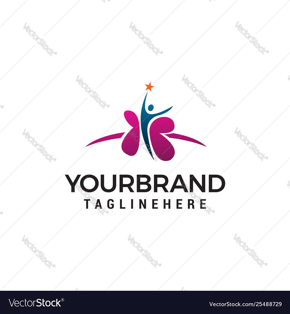 Medical healt people logo design concept template