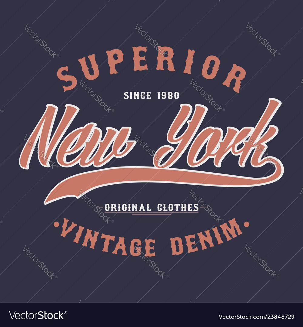 New york superior denim vintage t-shirt graphic