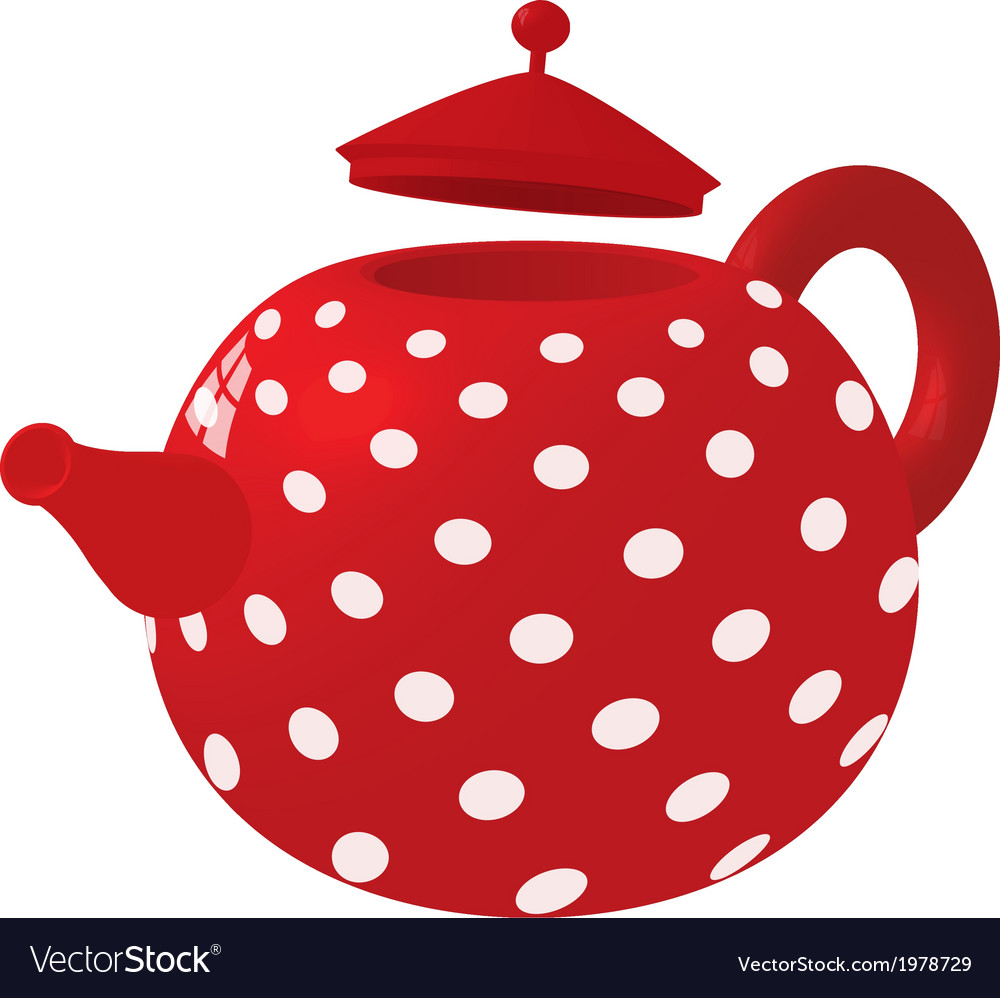 Red with white dots kettle