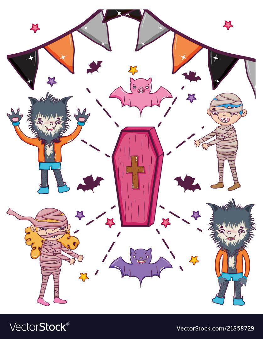 Set of hallooween character cartoons
