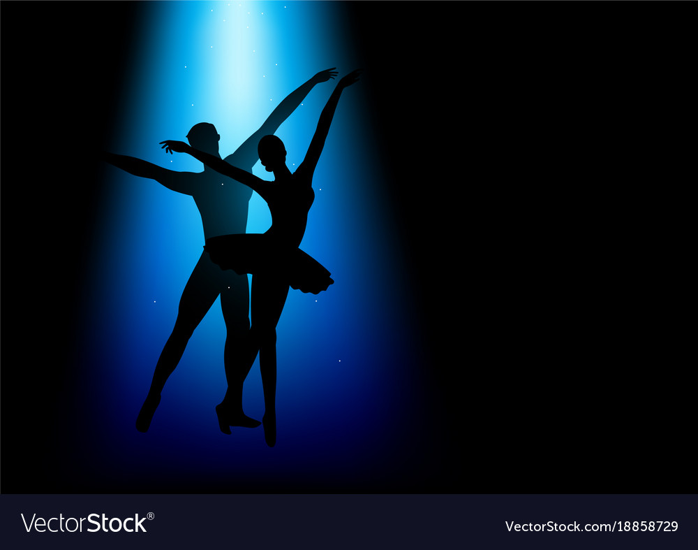 Silhouette of a couple dancing ballet