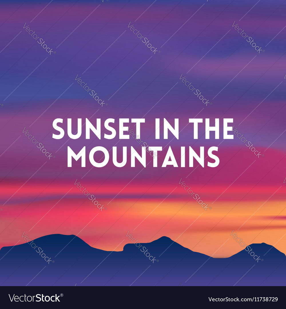 square blurred mountain background sunset colors
