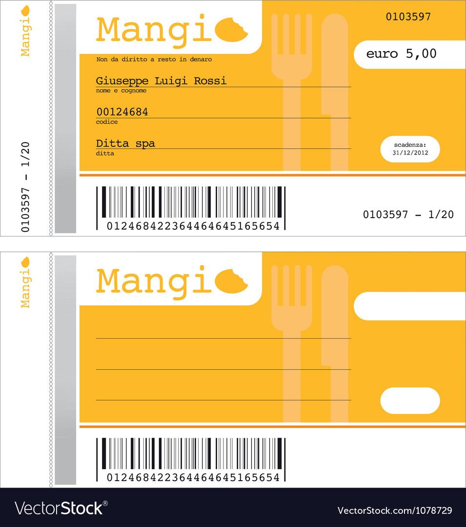 Ticket for restaurant
