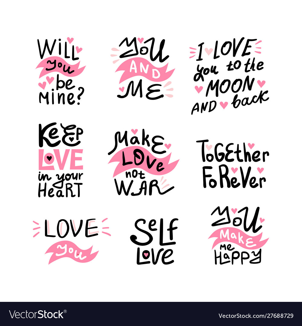 Valentine lettering love collection