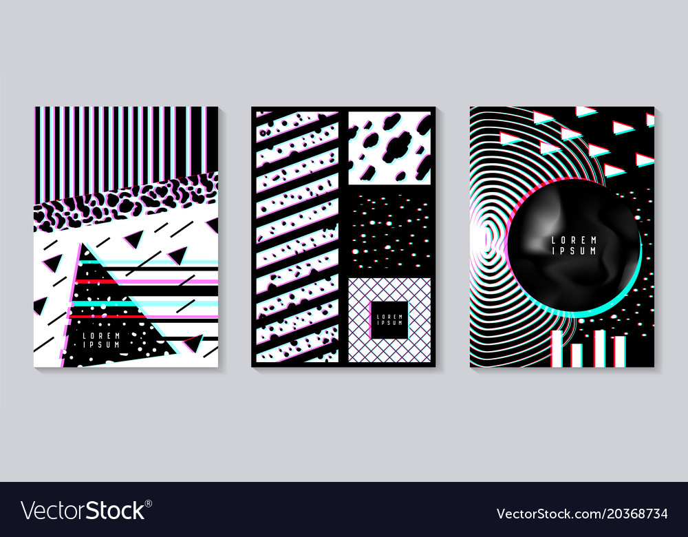 Abstract design set with glitch effect trendy