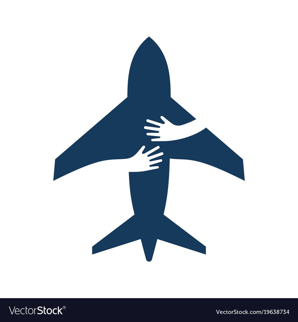 Airplane with human hands creative flat logo