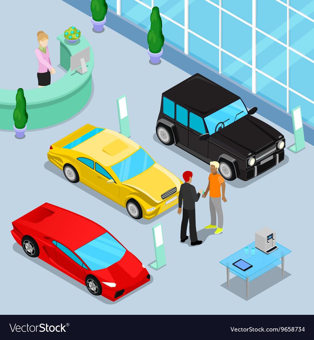 Car Sales Showroom Interior Isometric Transport