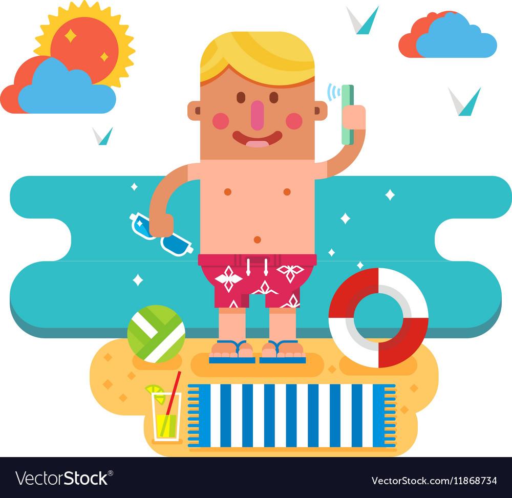 Cartoon man on vacation