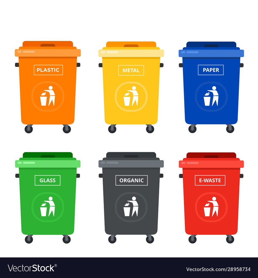 Colored tanks on wheels for sorting garbage flat