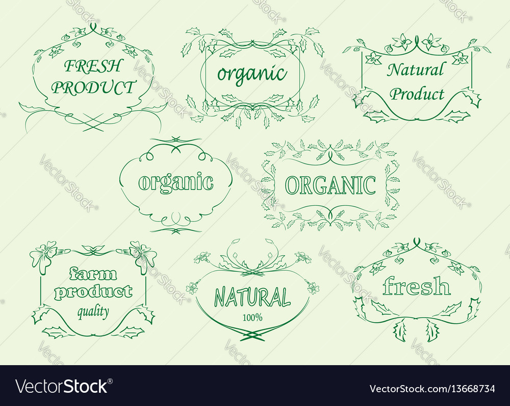 Floral labels for organic products - frames vector image