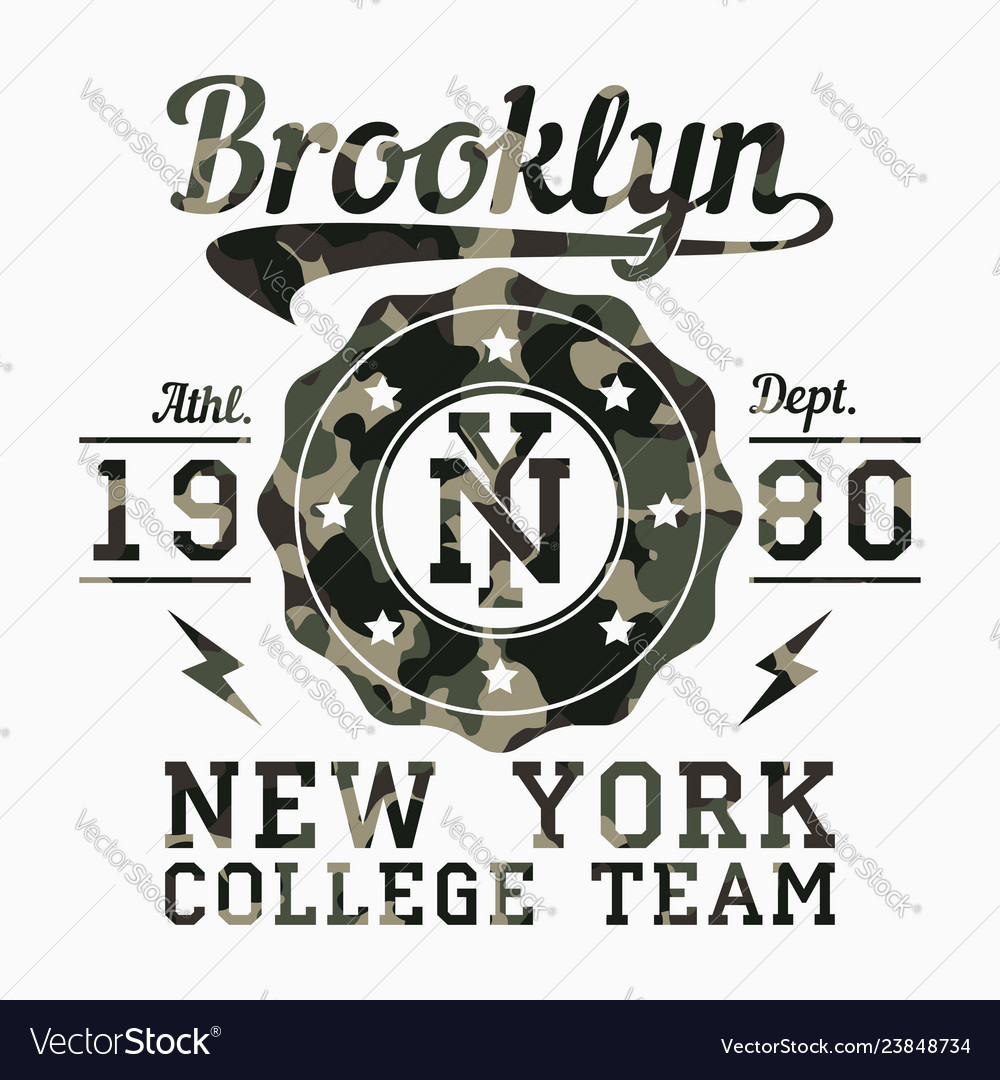 New york brooklyn camouflage t-shirt typography