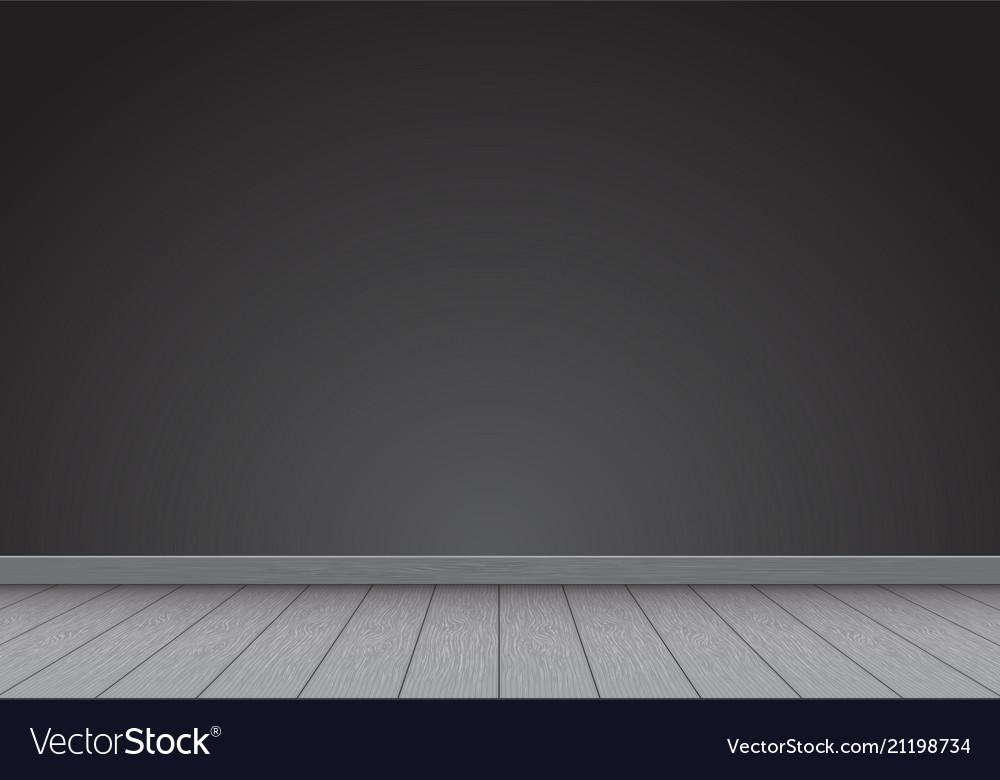 Realistic black wall blank with gray wood floor