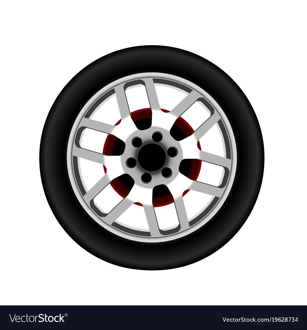 Realistic car alloy wheel isolated