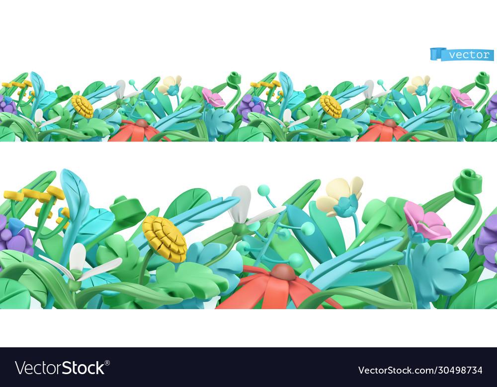 Spring grass and flowers cartoon 3d seamless