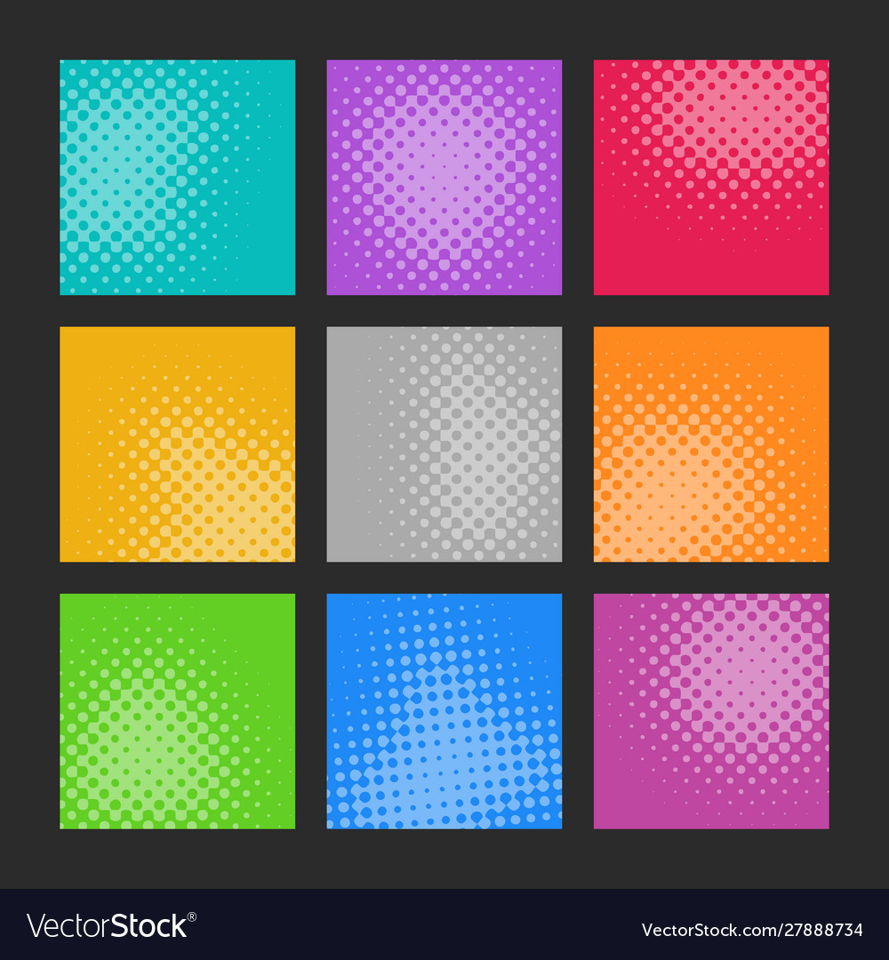 Trendy abstract halftone effect texture set
