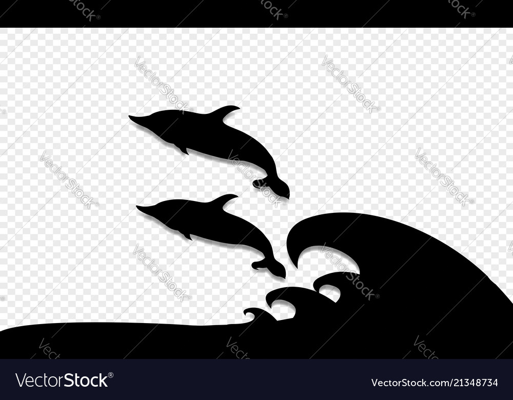 Two dolphins playing and jumping on sea waves icon