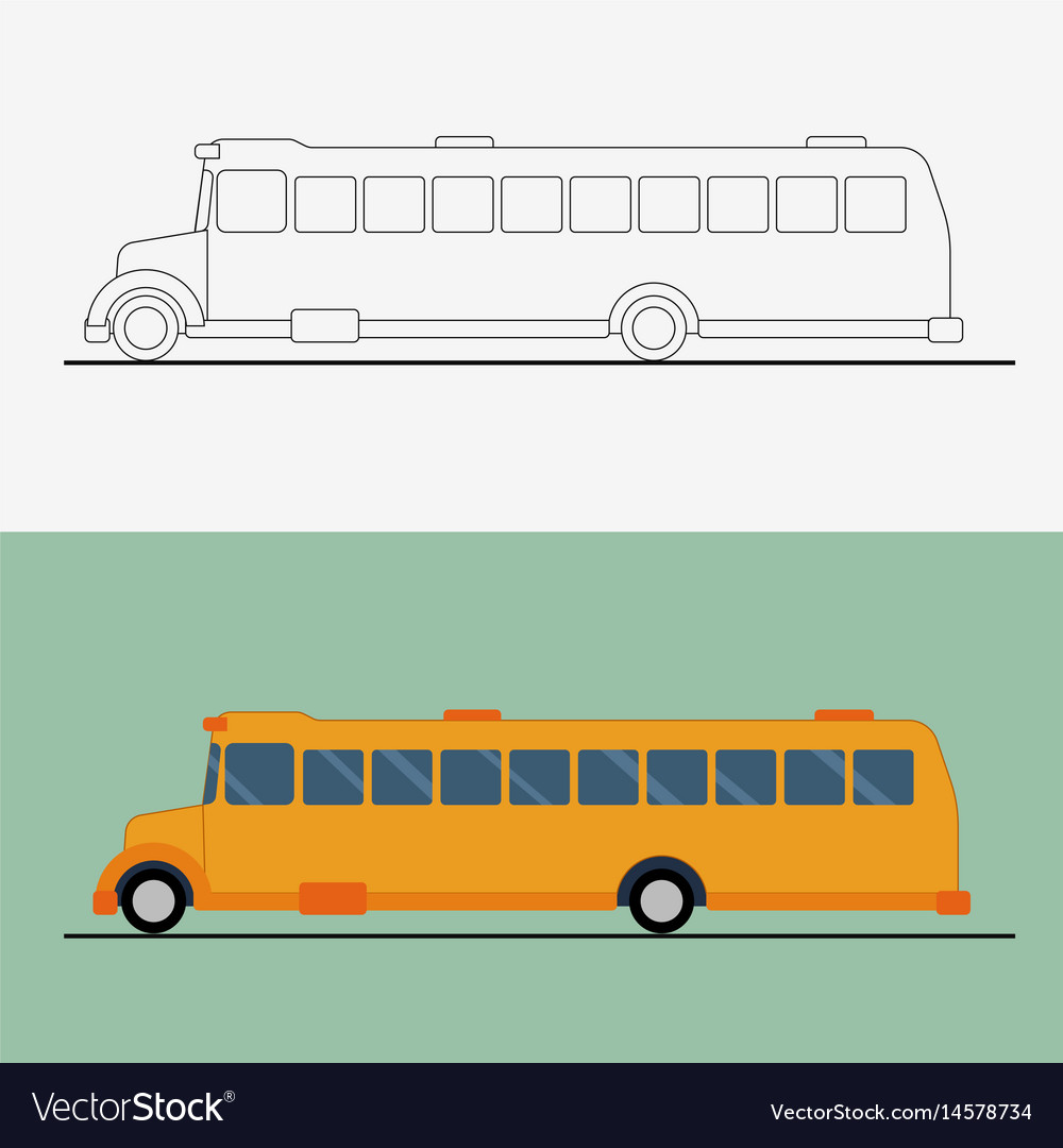 Yellow flat school bus bus