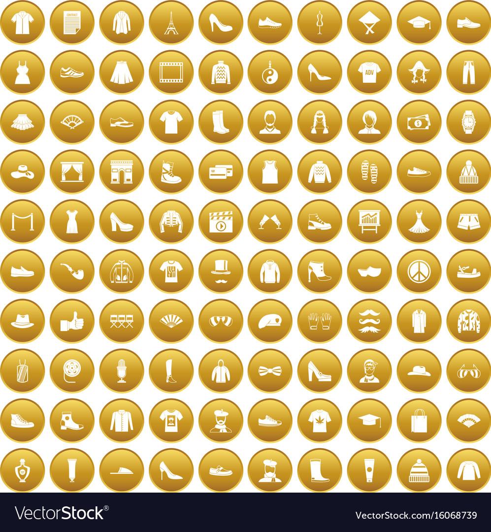 100 fashion icons set gold vector image