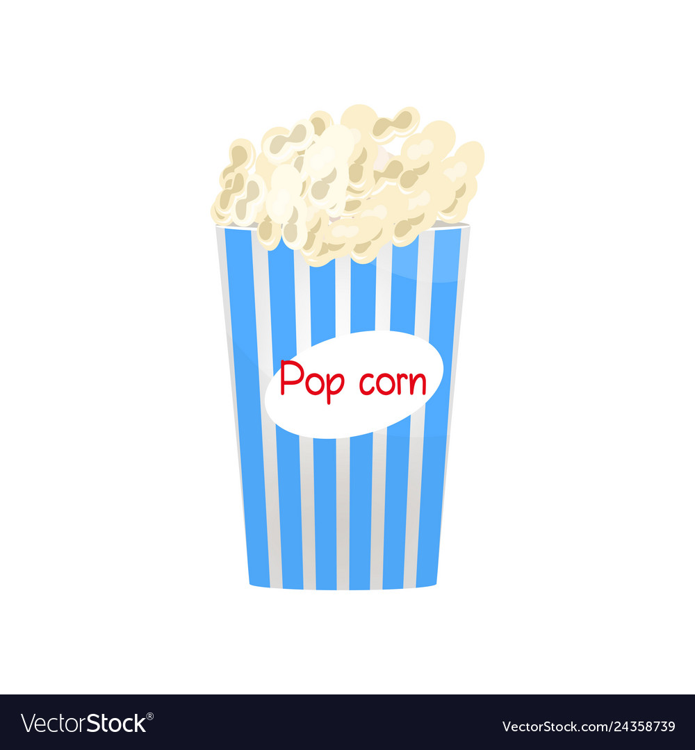 Blue And White Popcorn Bucket Filled With Snack Vector Image