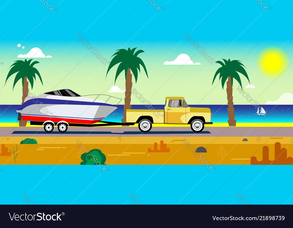 Car with a boat on a trailer