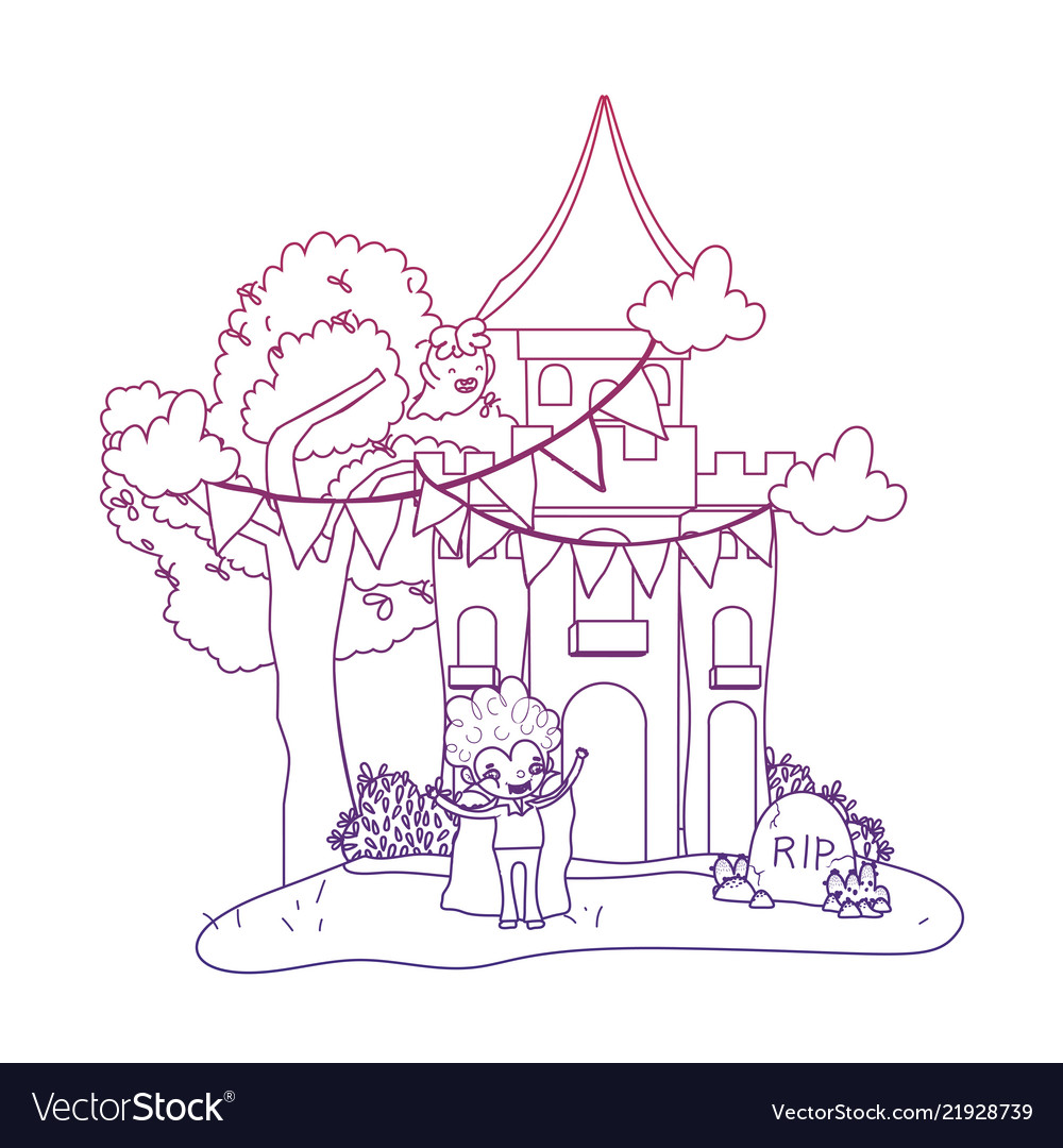 Degraded Outline Scary Castle With Boy Vampire And Vector Image