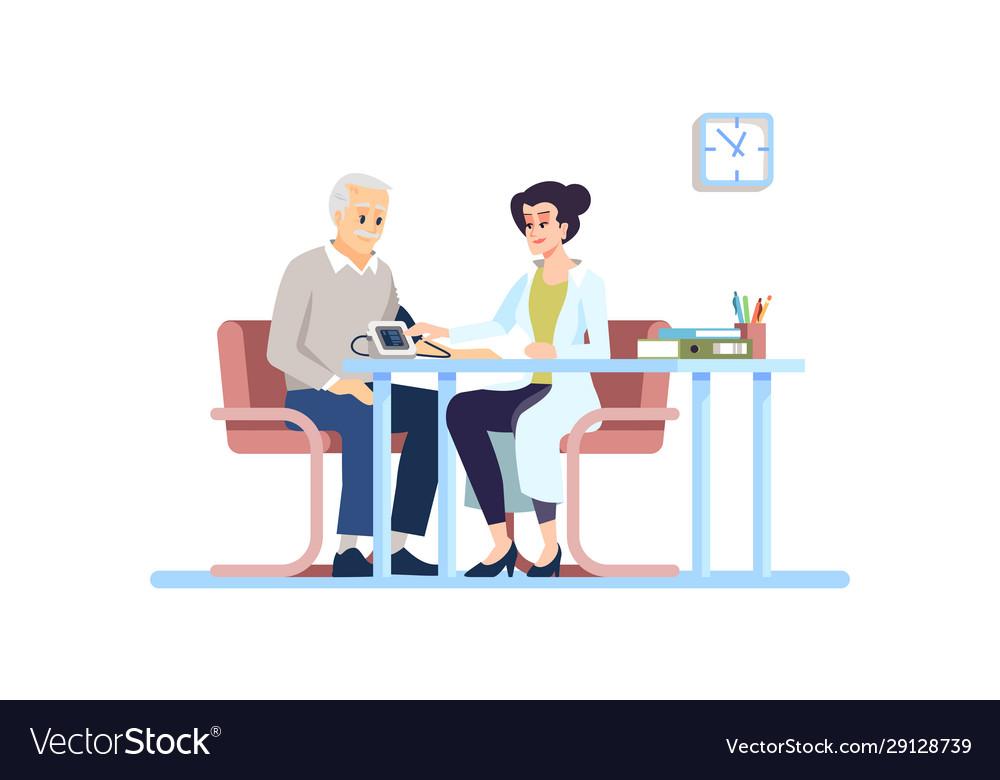 doctor checking blood pressure flat old patient vector image vectorstock