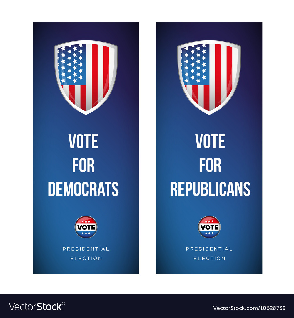Election banner set with usa flag vector
