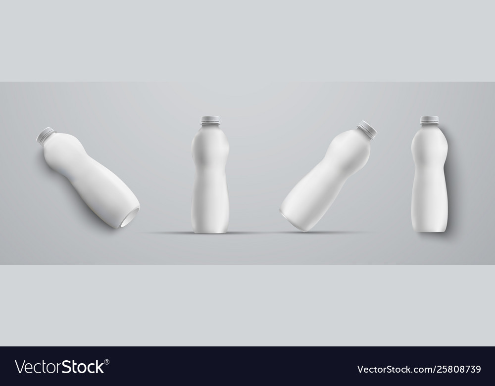 Four mockup plastic white bottle from different