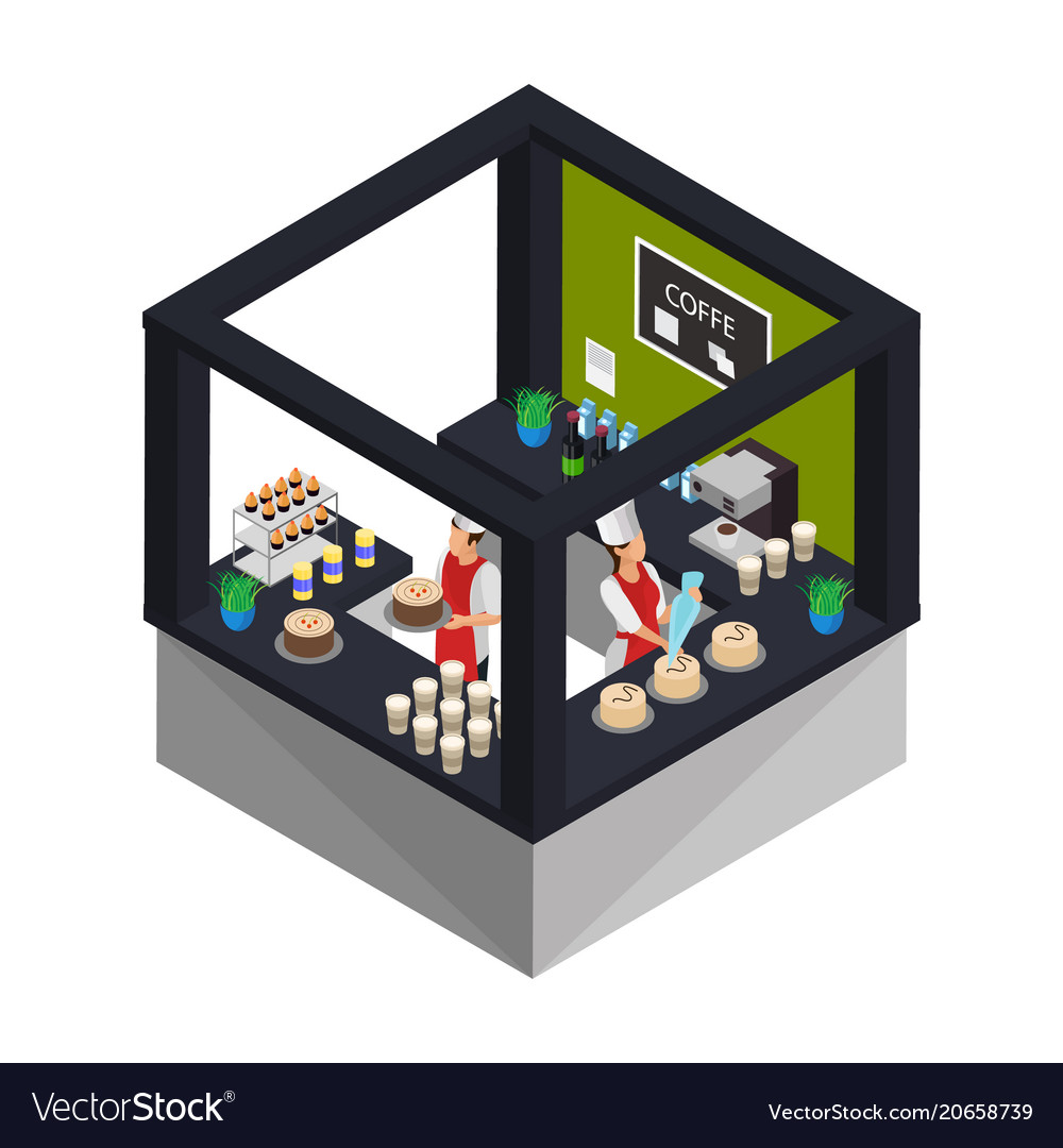 Isometric confectionery shop concept