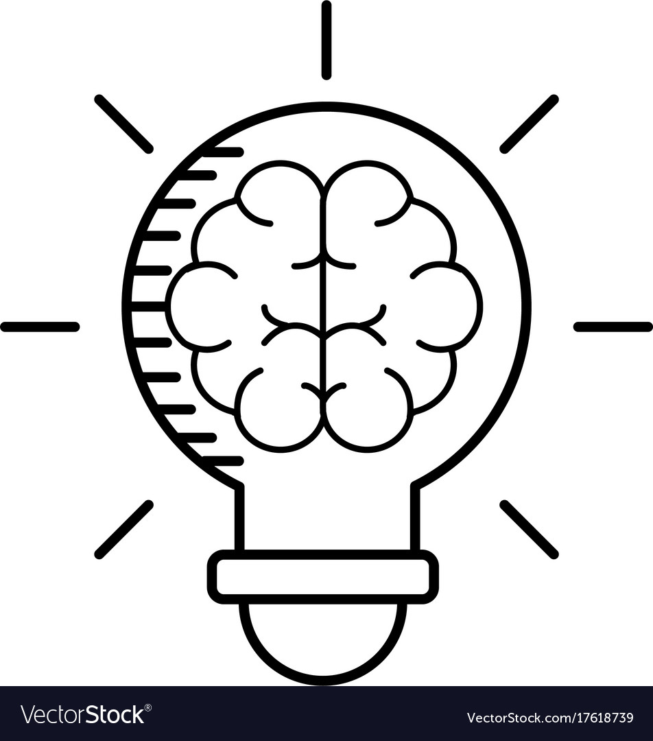 Line bulb with brain inside to creative design vector image