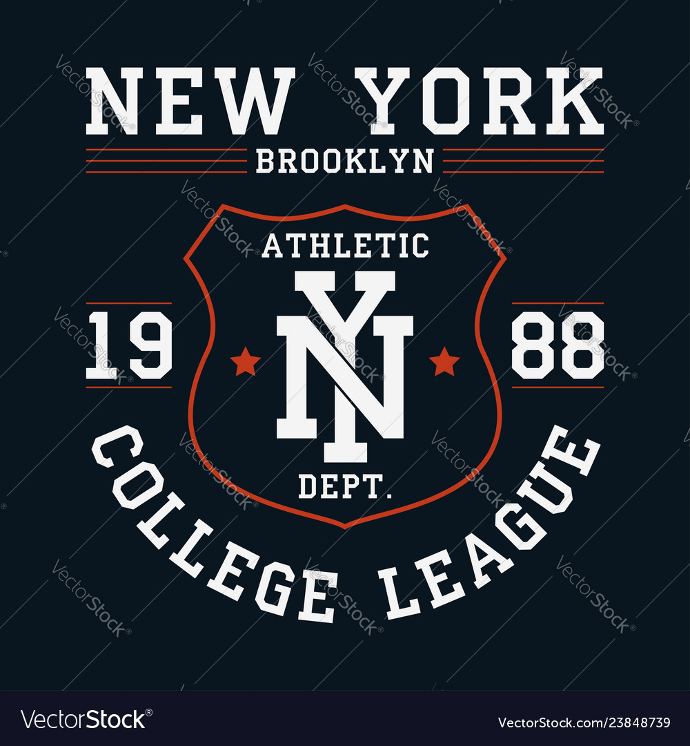 New york brooklyn graphic for t-shirt with shield