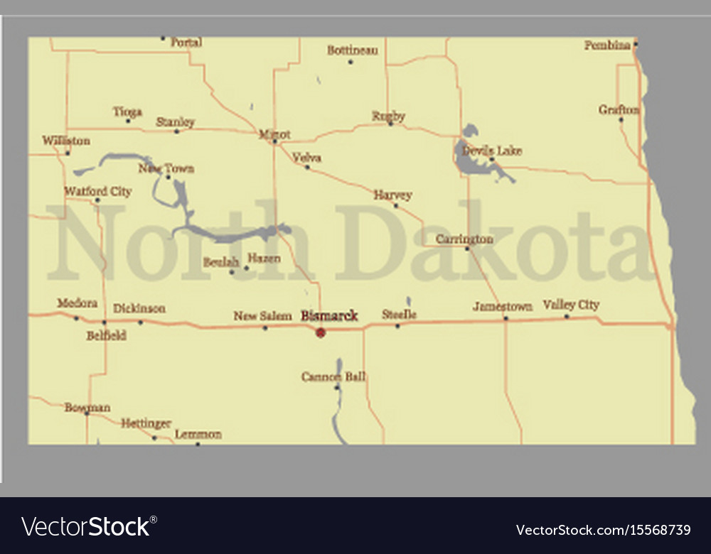 North dacota state map with community assistance vector image