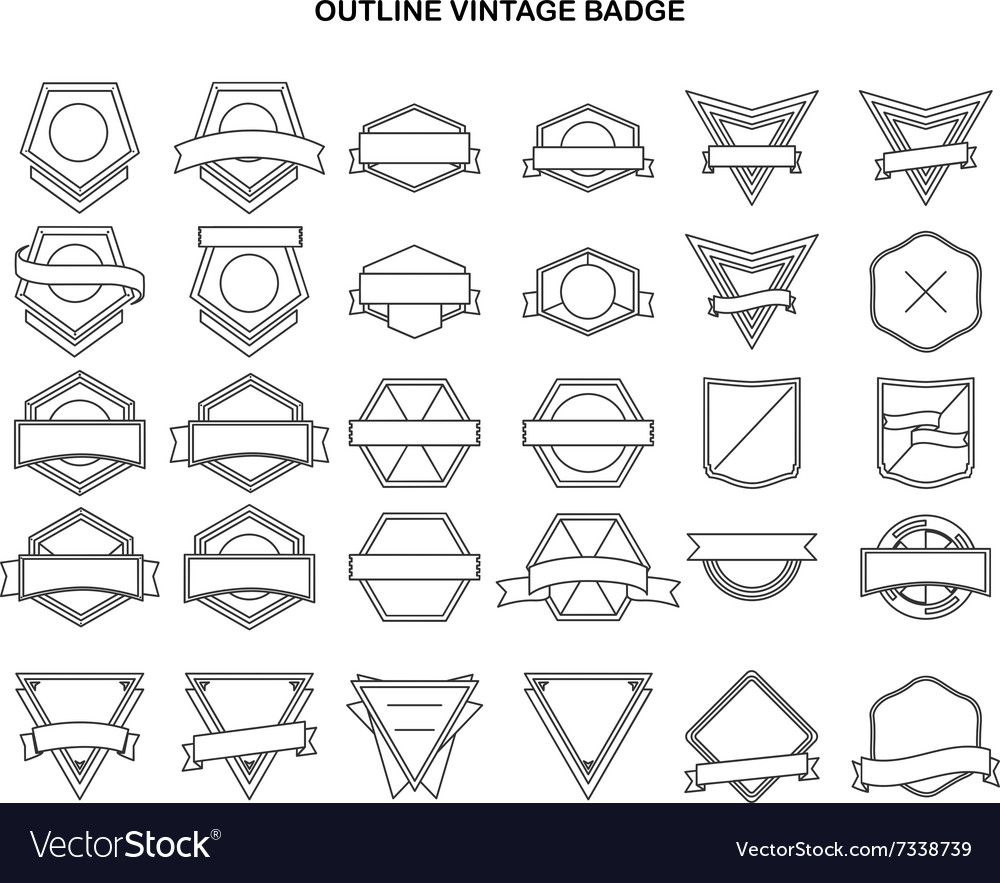 Outline vintage label collection vector image