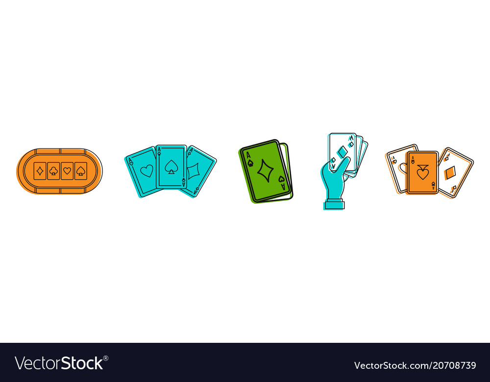 Play card icon set color outline style