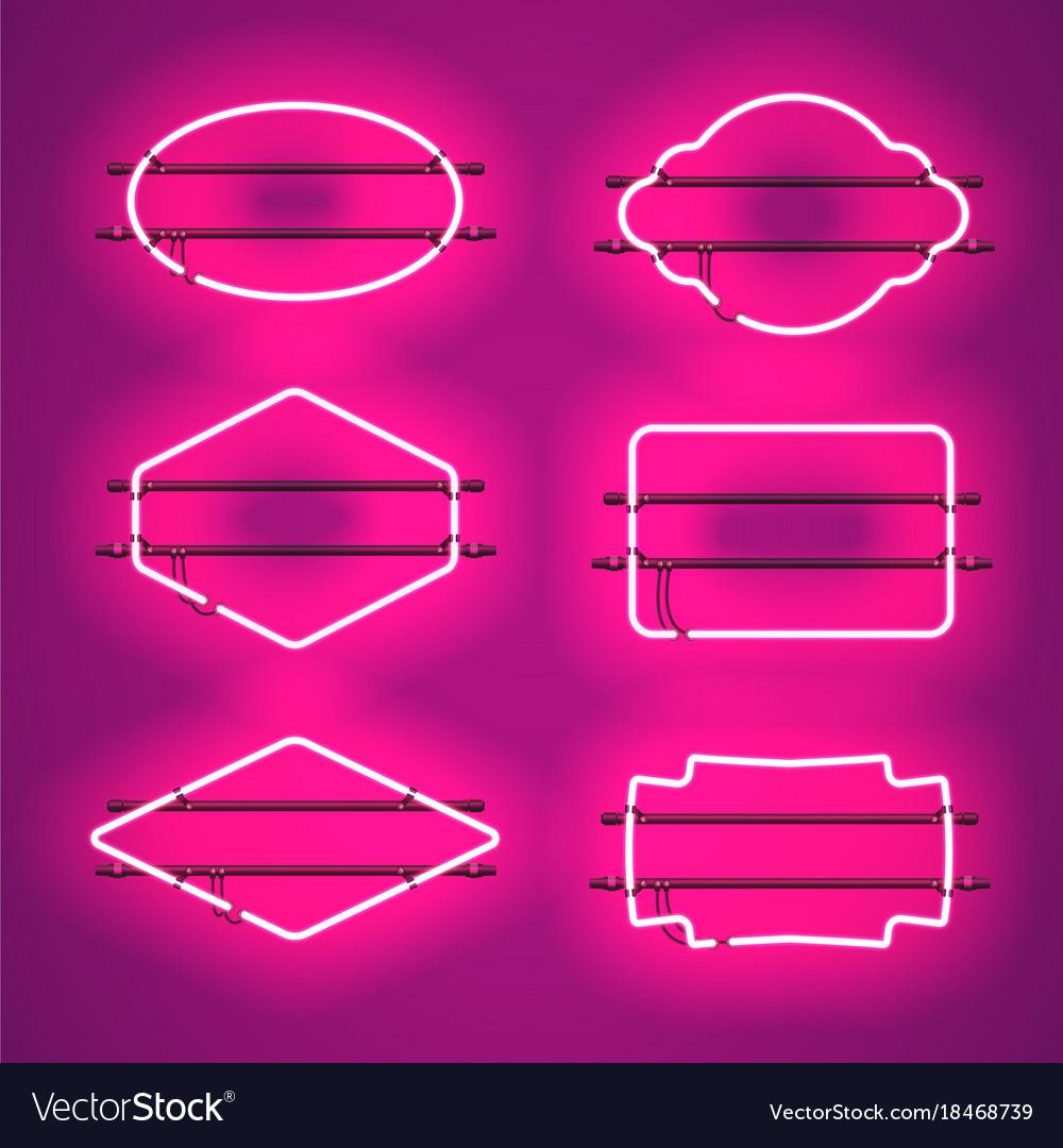 Set of realistic glowing purple neon frames vector image