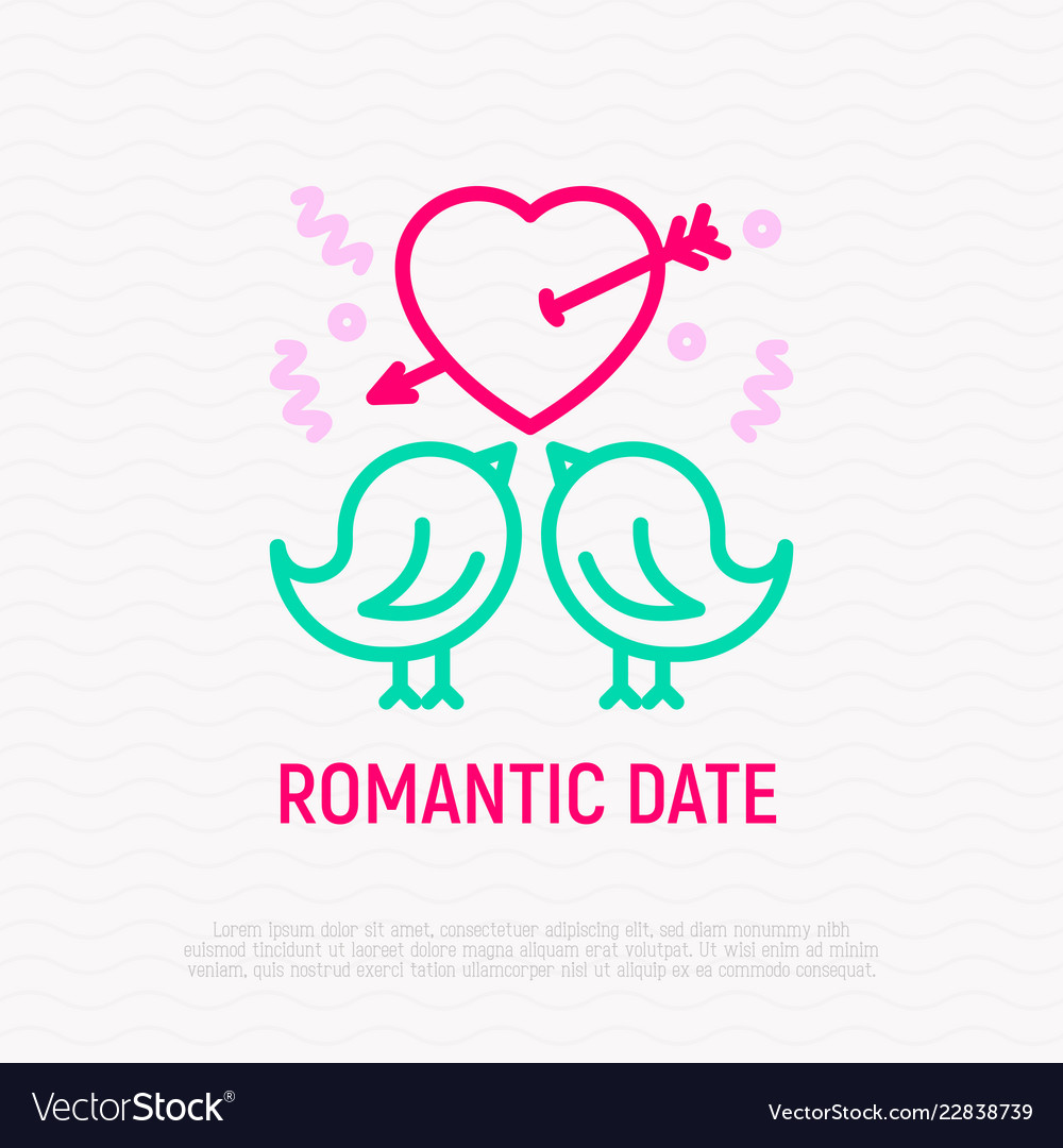 Two birds in love thin line icon
