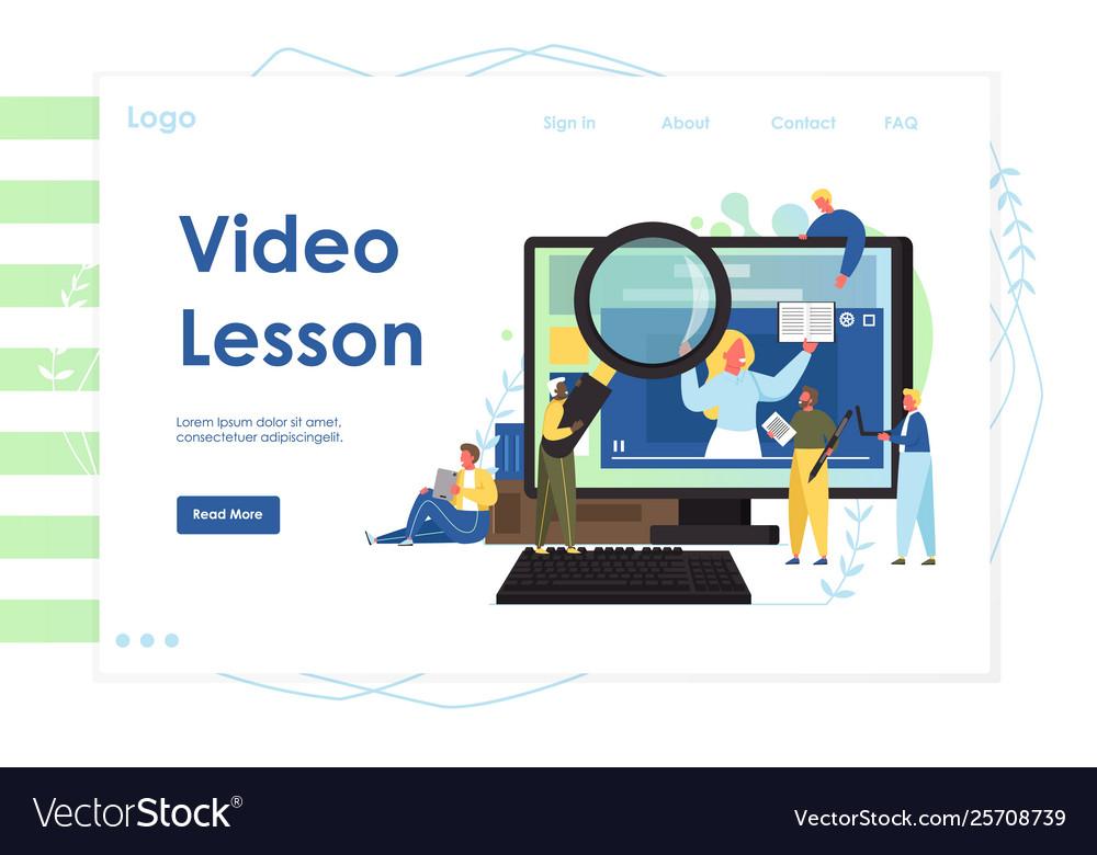 Video lesson website landing page design