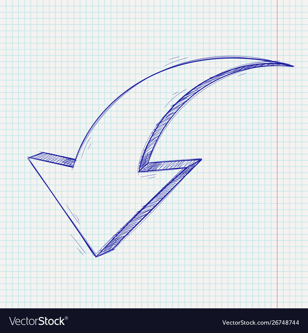 Arrow sketch down sign blue hand drawn doodle on
