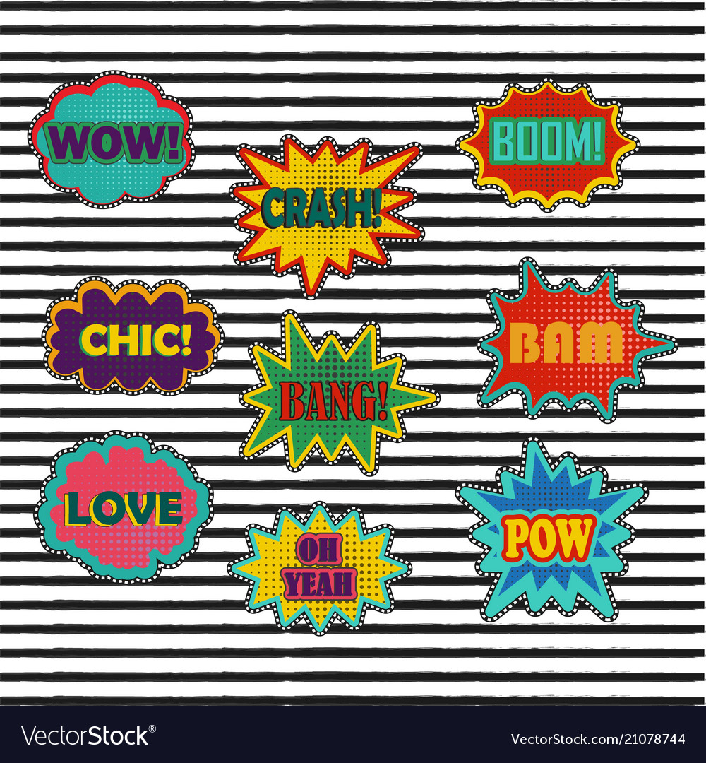 Comic patch sound effects in pop art style
