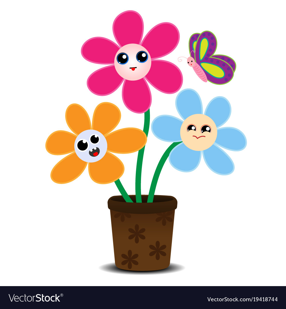 Cute Cartoon Flowers On A Flower Pot Royalty Free Vector