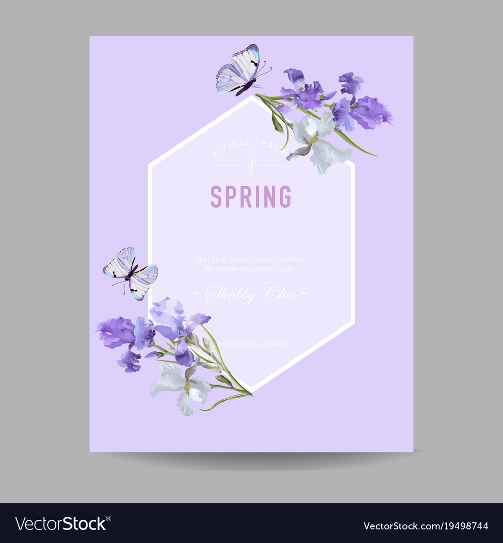 Floral bloom spring frame with purple iris flowers floral bloom spring frame with purple iris flowers vector image izmirmasajfo