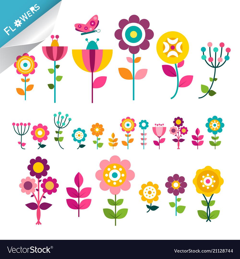 Flower symbol flowers icons cute flat plants